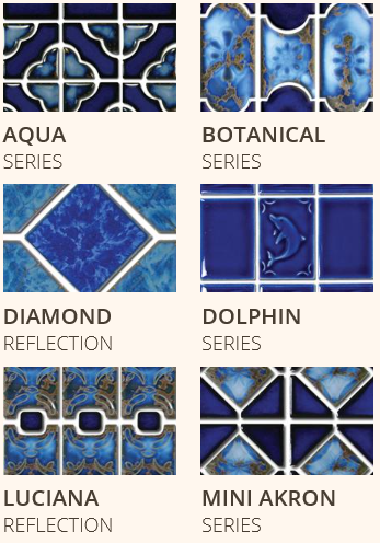 Waterline pool tile swimming pool spruce up pinterest for Pool design mosaic tiles