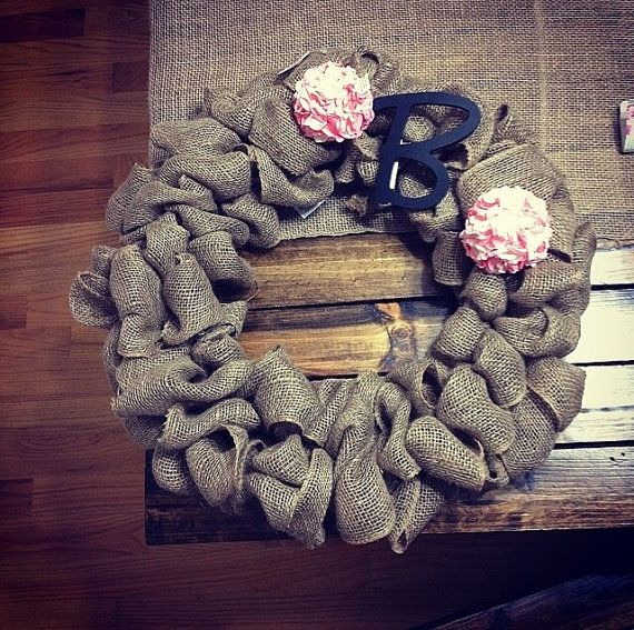 BURLAP+WREATH+/+monogram/+custom+by+AlishasCrafts+on+Etsy,+$45.00