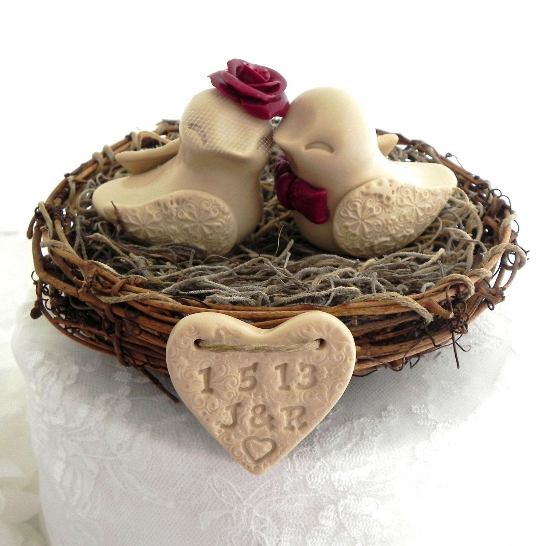 Rustic valentine love bird wedding cake topper tan