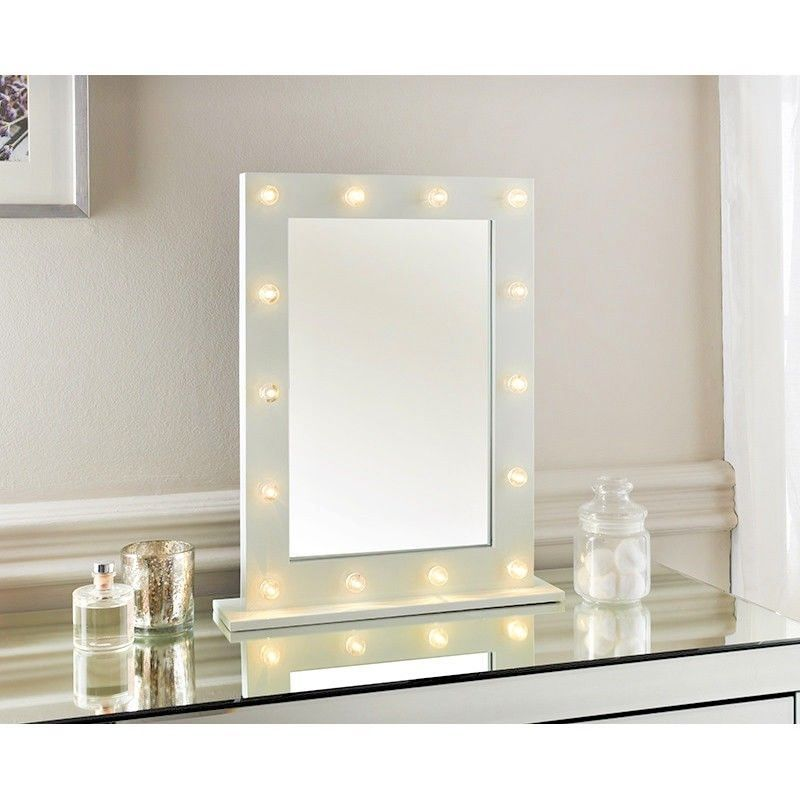Details About Vanity Mirror Hollywood 14 Led White Black Frame
