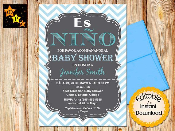 SPANISH Baby Shower Invitation Boy Chevron Blue EDITABLE