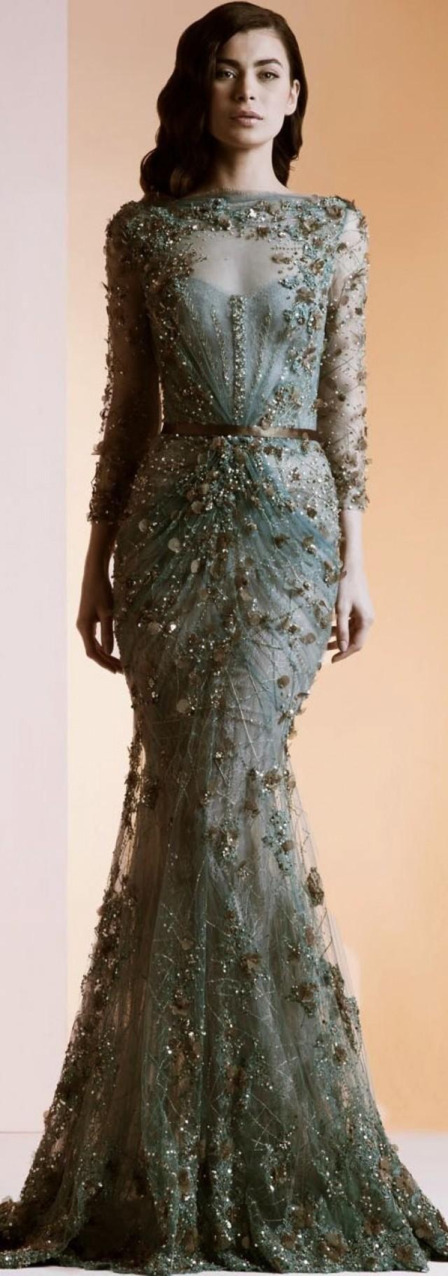 Beautiful beaded pale green cream and gold dress ziad nakad tus