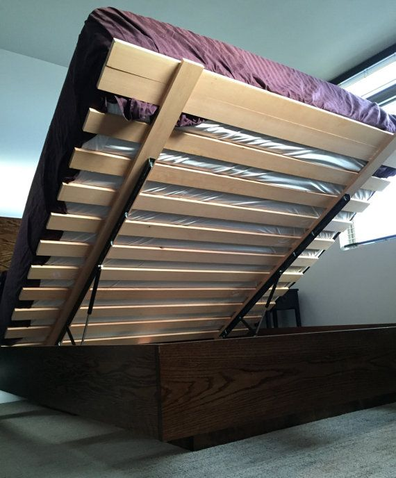 Marco de la cama de almacenamiento por BoltWoodWorks en Etsy   kitty ...