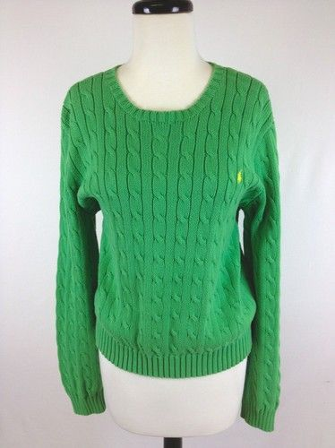 Ralph Lauren Sweater Cotton Green Trendy Long Sleeve Cable Knit ...