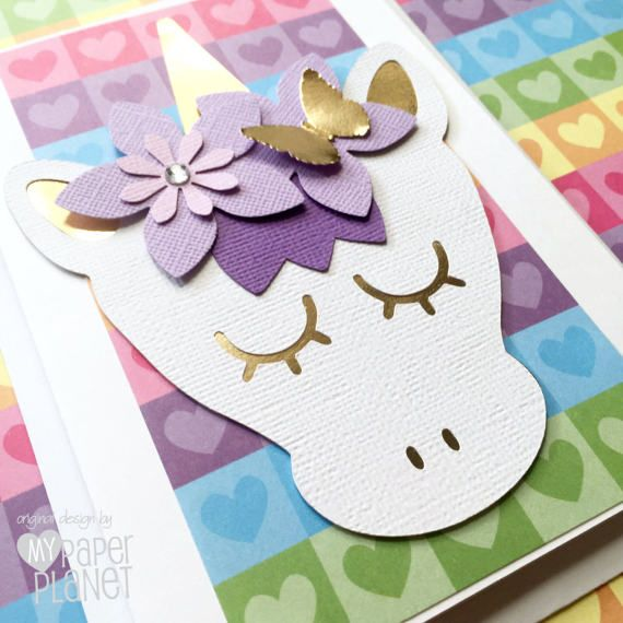 Rainbow Hearts Unicorn Greeting Card Purple White Gold Party By MyPaperPlanet