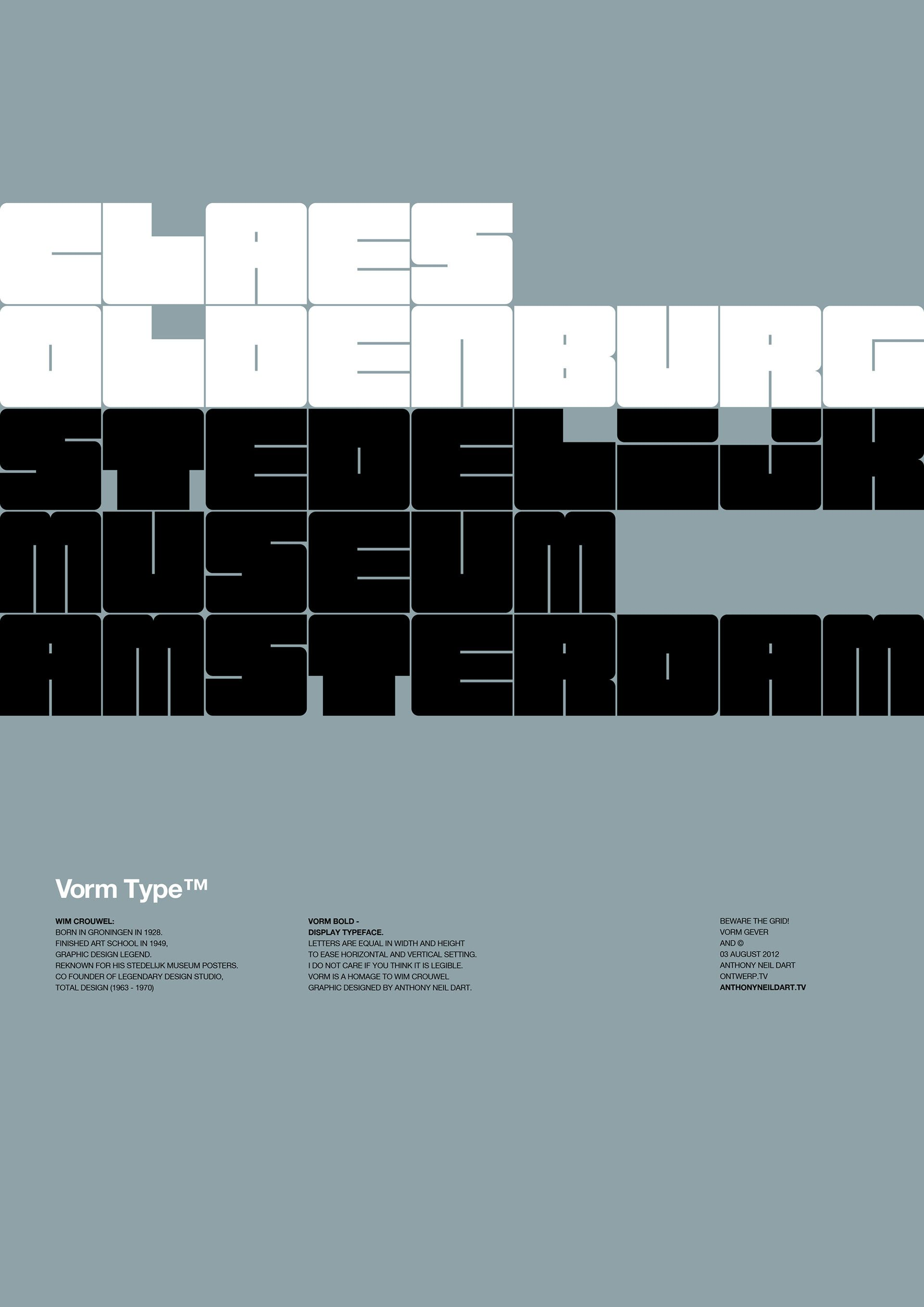 Template Formal Letter%0A Vorm Type    is a display typeface based on a formal grid  The letters occupy  the same amount of space in an attempt to ease vertical and horizontal