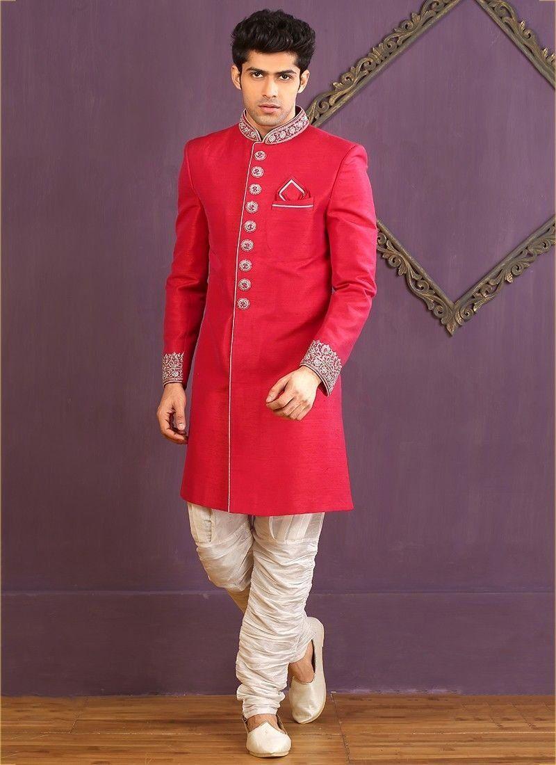Pakistani indian traditional wedding wear red designer silk sherwani