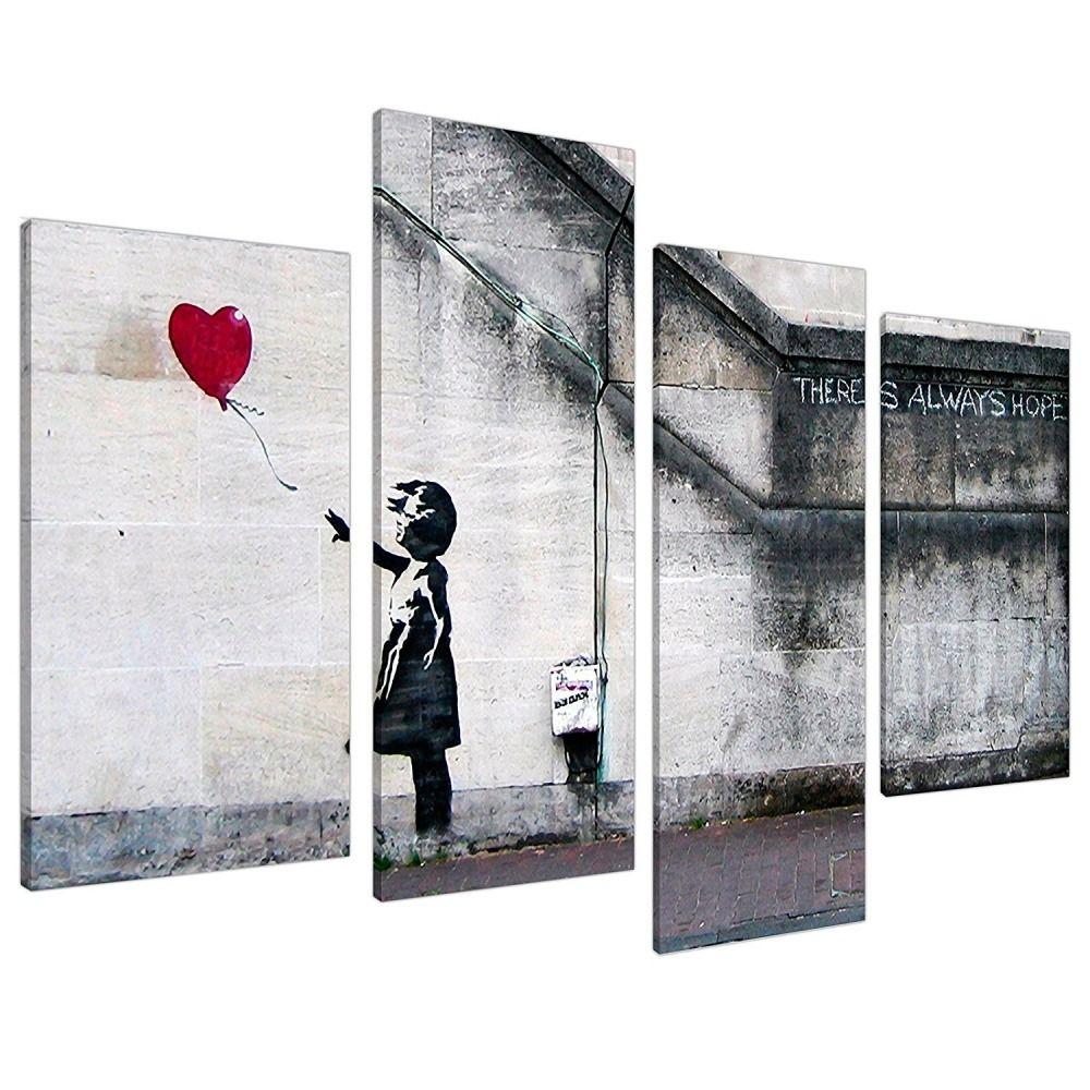 Extra Large Banksy Canvas Prints Balloon Girl 130cm XL Red | Set 4050 #ArtDeco