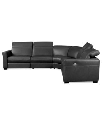 Nicolo 5 Piece Leather Reclining Sectional Sofa With 3 Powered