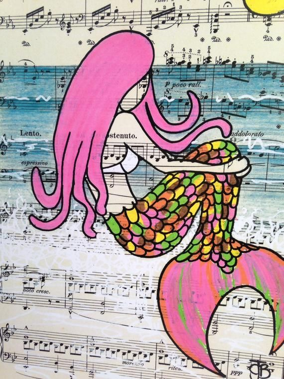 Syren the Mermaid signed mounted A4 print surf art sea art illustration #mermaidsign