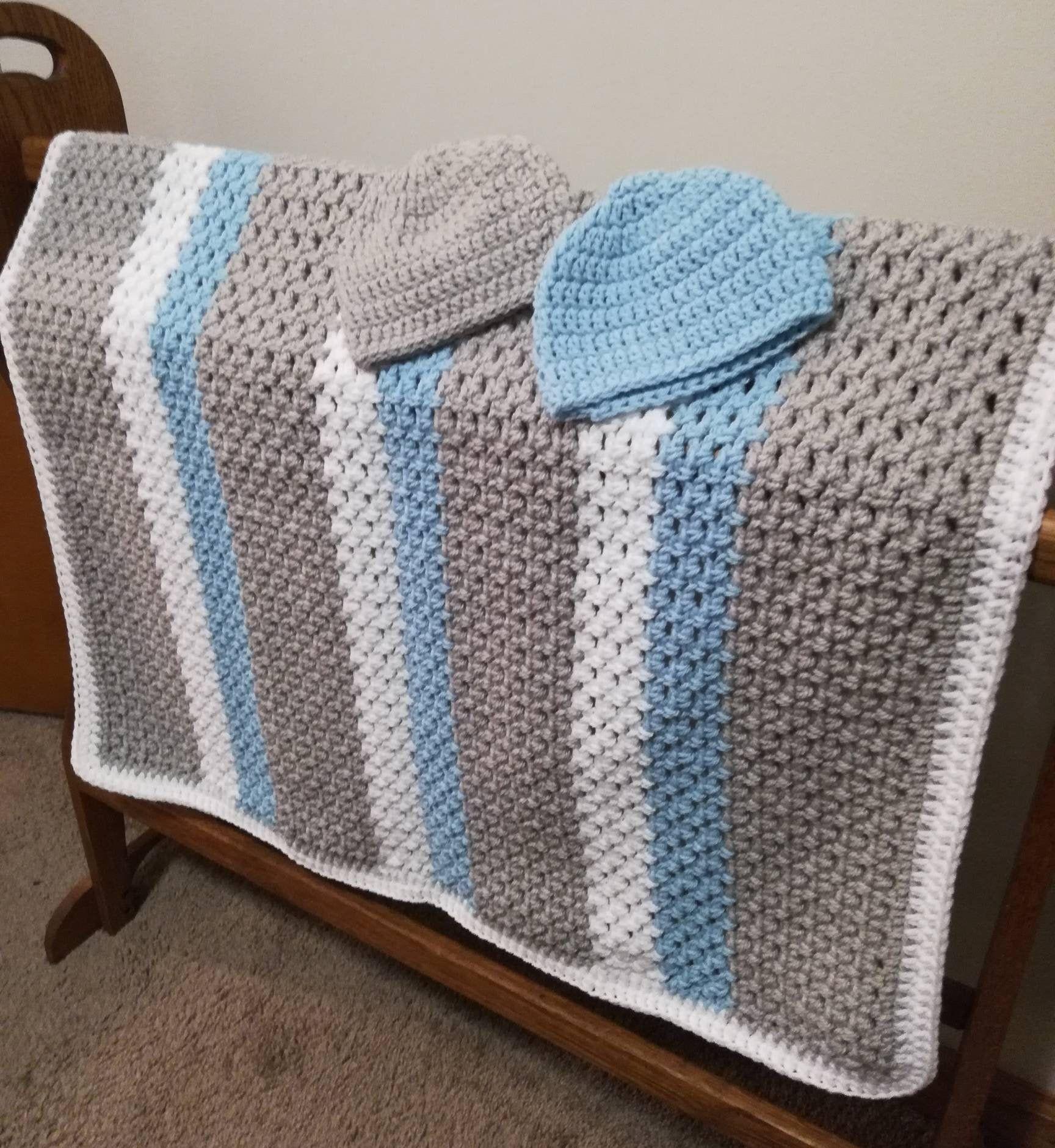 Crochet newborn afghan Blue gray baby blanket hat set Deluxe newborn boy gift Handmade baby booties        A20 Infant hat slipper set
