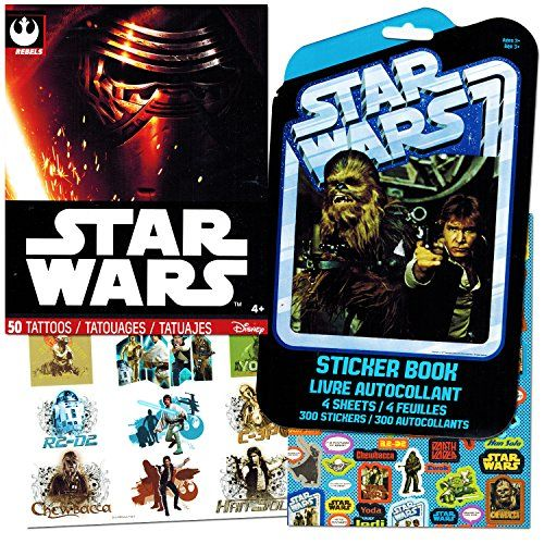 Classic Star Wars Tattoos and Stickers Party Favor Pack 50 Temporary Tattoos and 300 Stickers