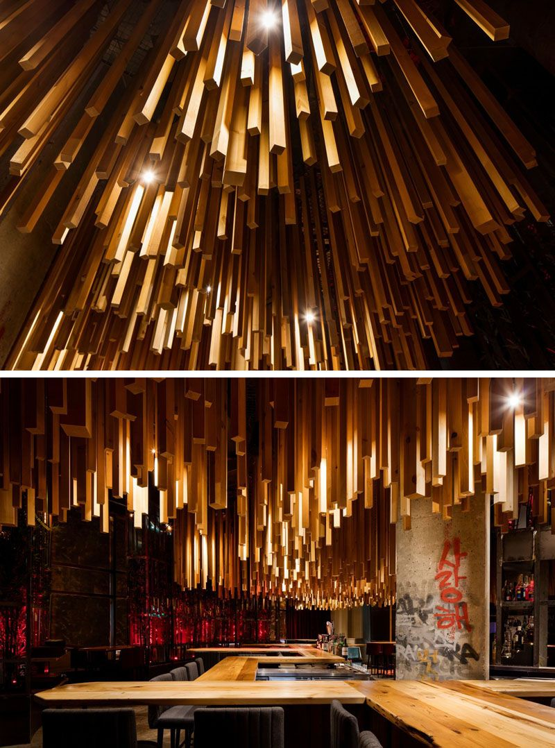 2700 Wood Lengths Hang From The Ceiling In This New Montreal