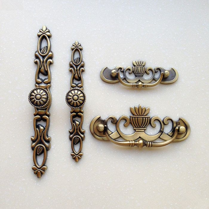 Shabby Chic Dresser Drawer Pulls Handles / Antique Bronze Cabinet Pull  Handle Knobs Furniture Hardware Back Plate Drop Pull Handles by  JackAccessories on ... - Shabby Chic Dresser Drawer Pulls Handles / Antique Bronze Cabinet