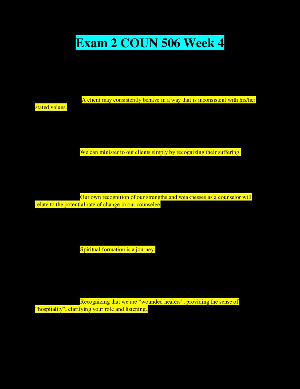 Hsco 506 Exam 2 Liberty University Complete Solution Latest Liberty University Exam Psychology Exam