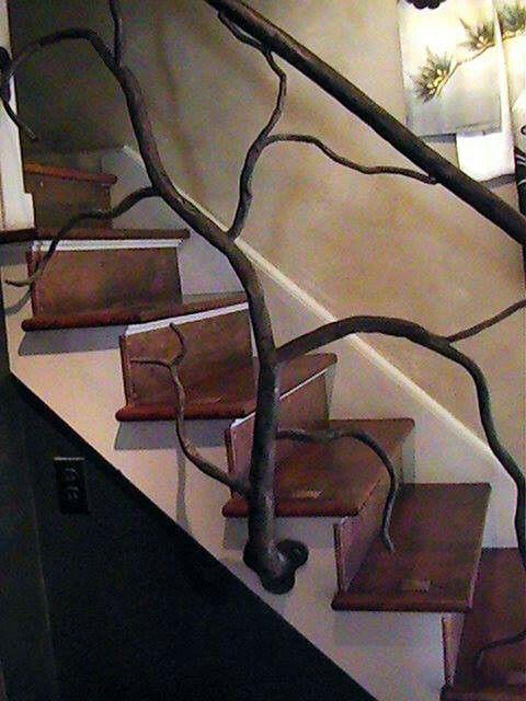 Tree branch stair railing! | Decor, Home decor, House design