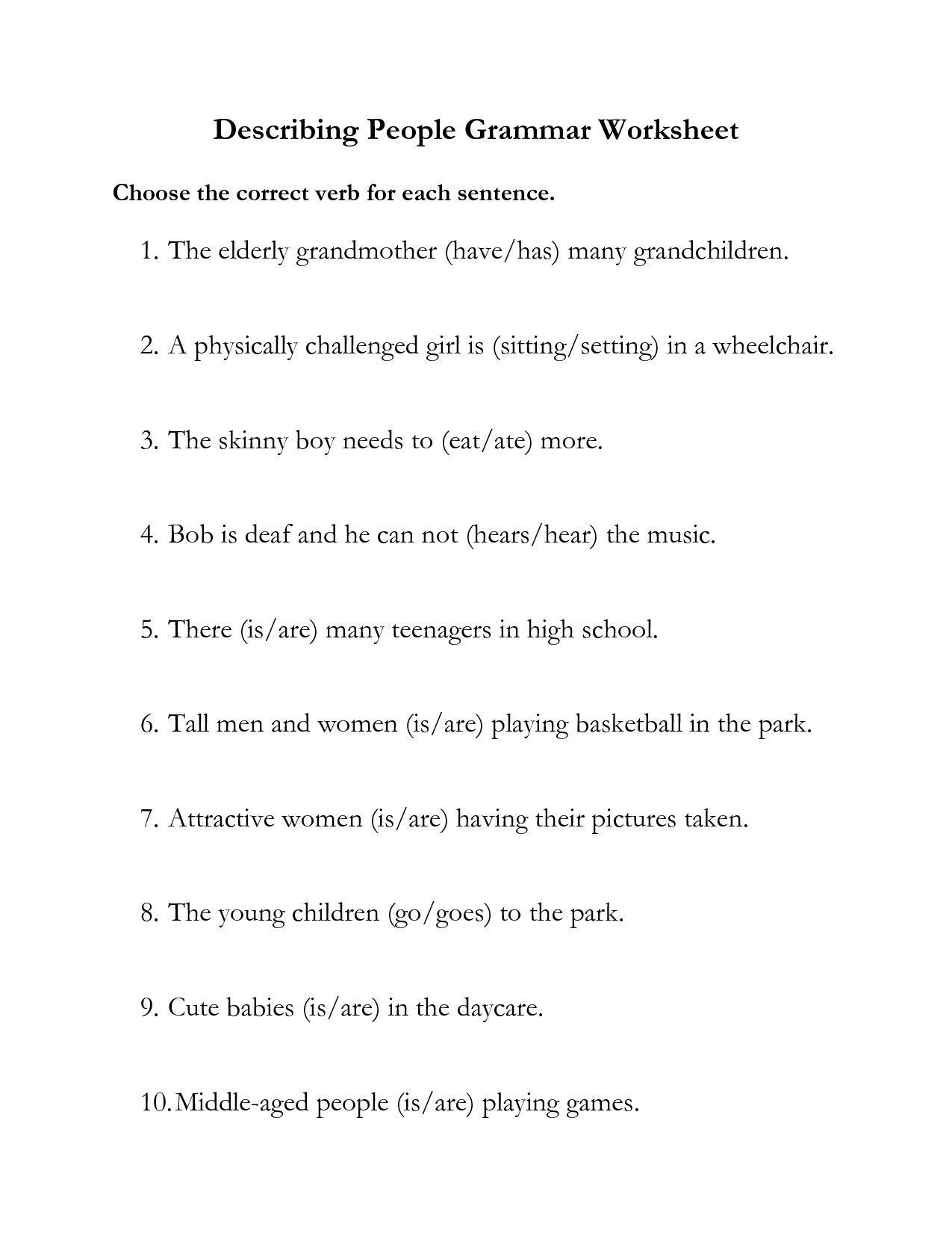 Grammar Worksheets For Middle School In
