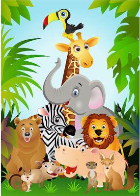 Banco De Imagenes Fotos Y Postales Ilustracion A Todo Color Con Los Animales De La Selva Cartoon Animals Animals Cartoons Vector