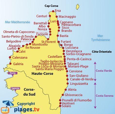 Carte Corse Ville.Corsica Plages En Haute Corse 2b Liste Des Stations
