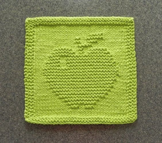 APPLE Knit Dishcloth or Wash Cloth ~ Lime Green 100% ...