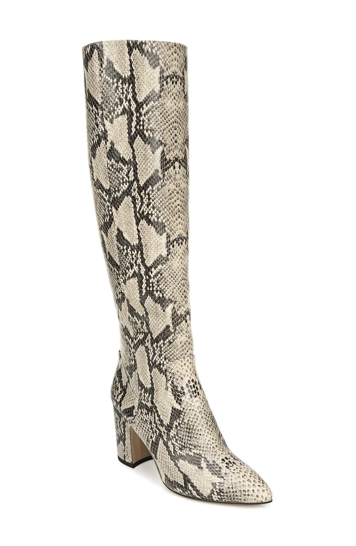 Zip Up Knee High Boots Womens New Snake Leopard Printed Pull On Block Mid Heels