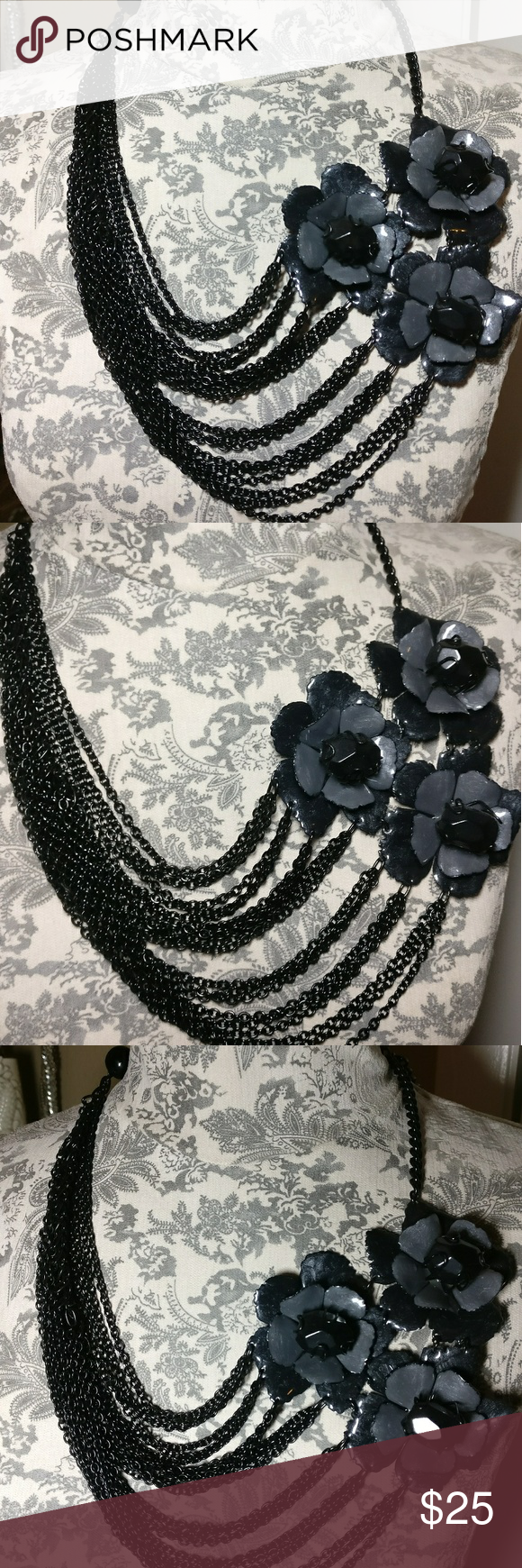 Express Large Black Gray/Silver Statement Necklace In great condition.  Very eye-catching.  Adjustable length.  Please use photos as a description. Express Jewelry Necklaces