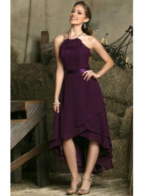 Chiffon Sleeveless A-line Asymmetrical Natural Bridesmaid Dresses