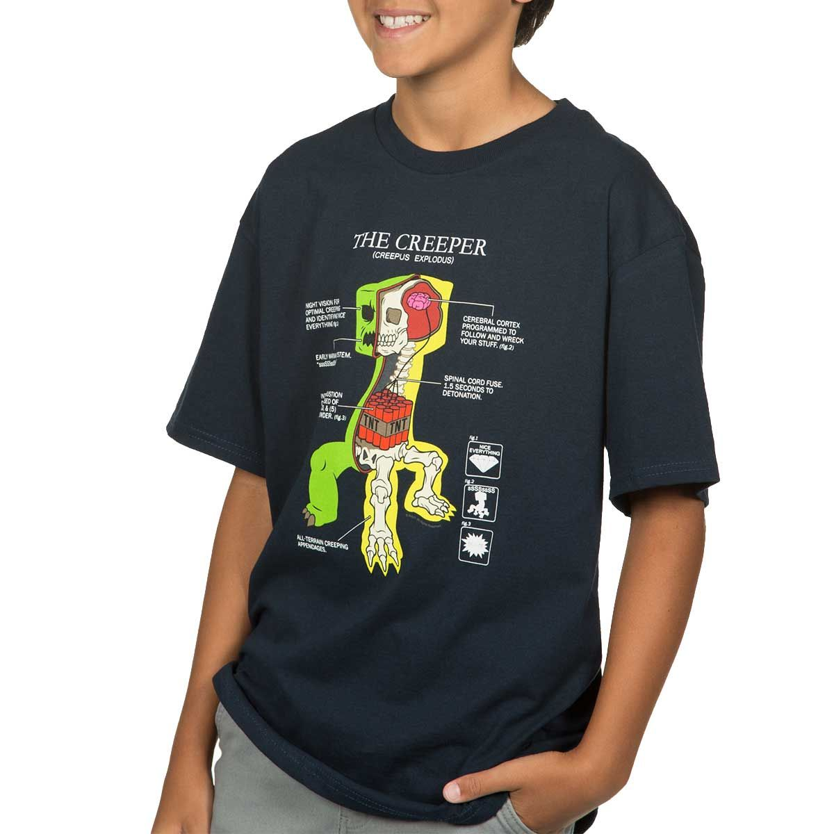 Minecraft Creeper Youth T-shirt. Get in the know for creeper anatomy ...