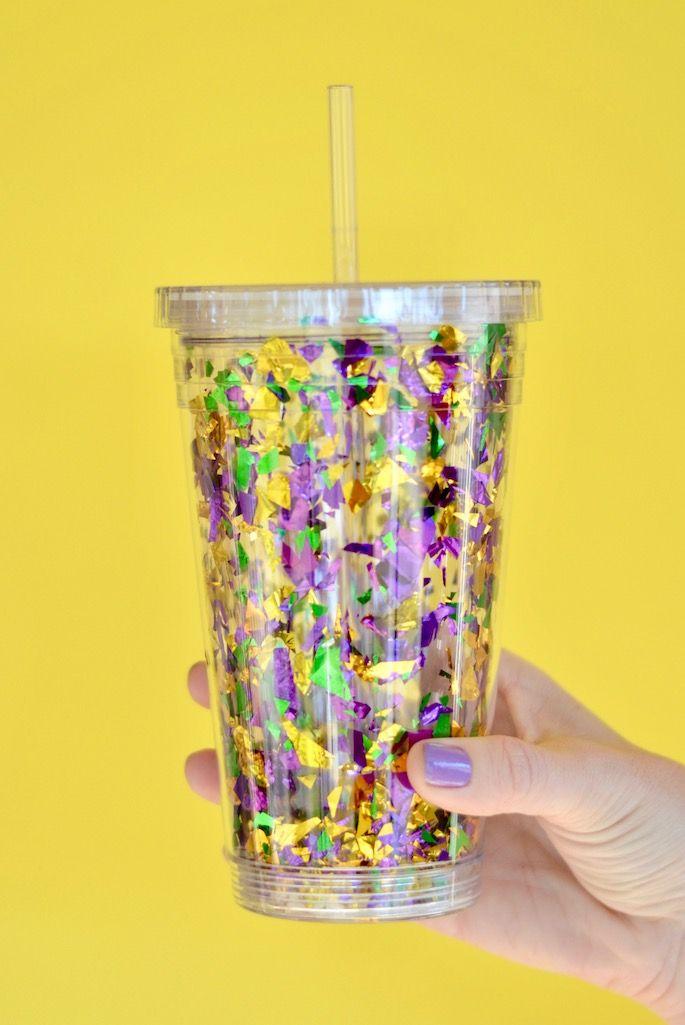DIY Mardi Gras Confetti Go-Cup! Mardi Gras Pinterest Mardi - confeti