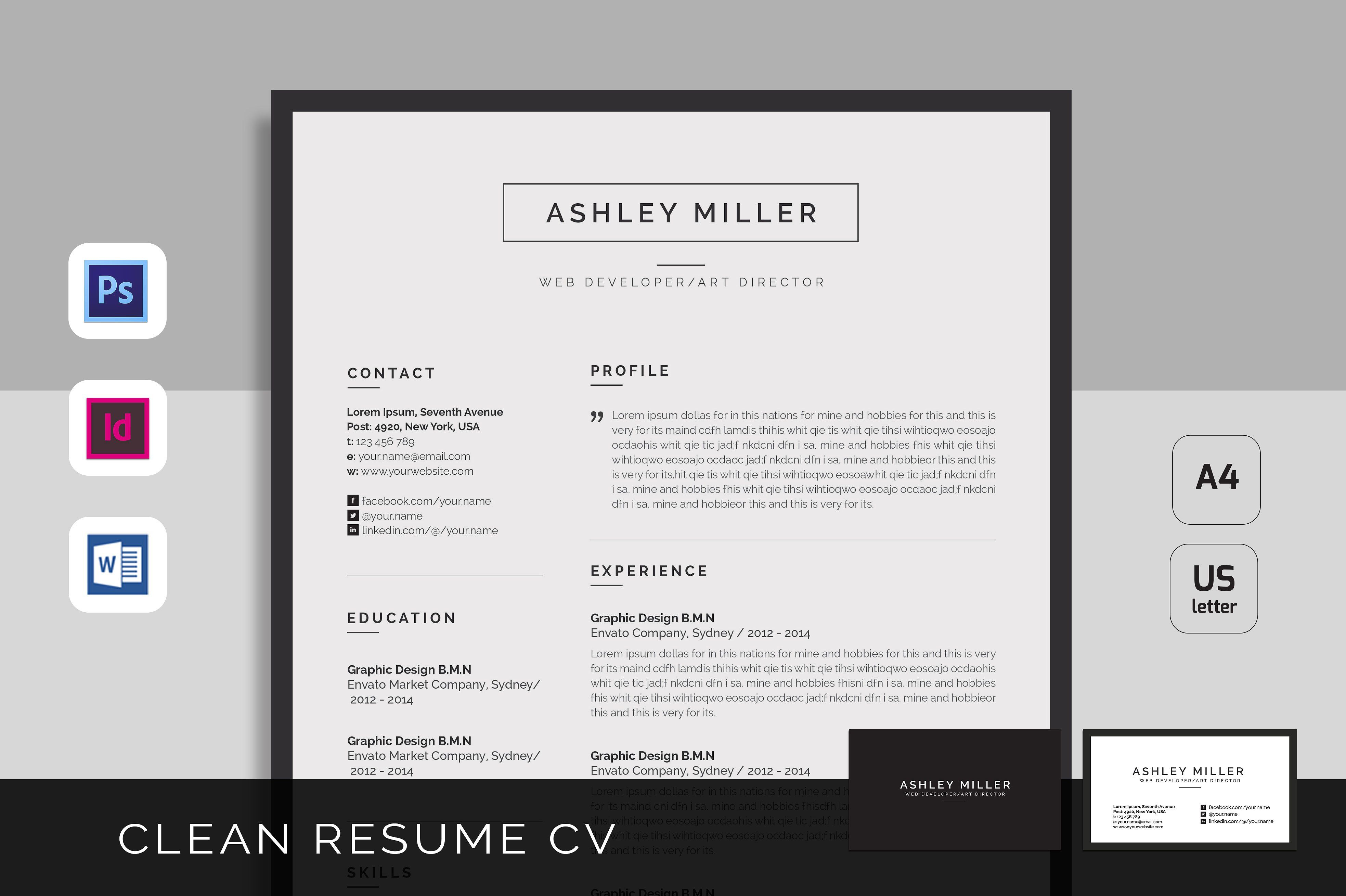 an attractive resumecv template with super clean and modern look it includes single page resume and cover letter with business card