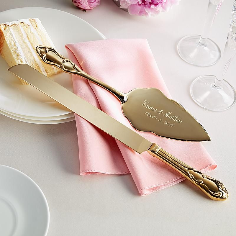 Send Gold Plated Cake Knife And Server Set Other Personalized Gifts At Personal Creations