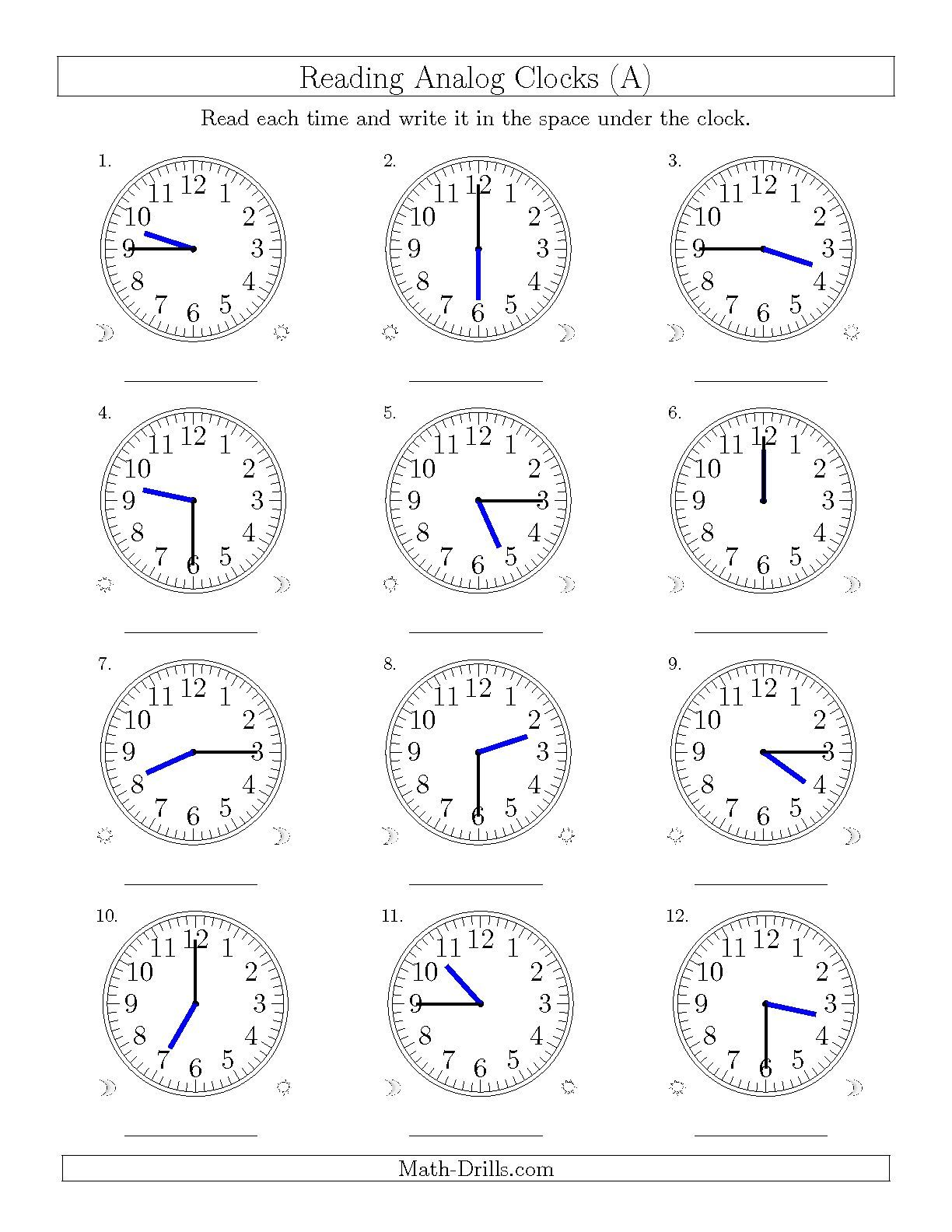 The Reading Time on 12 Hour Analog Clocks in 15 Minute