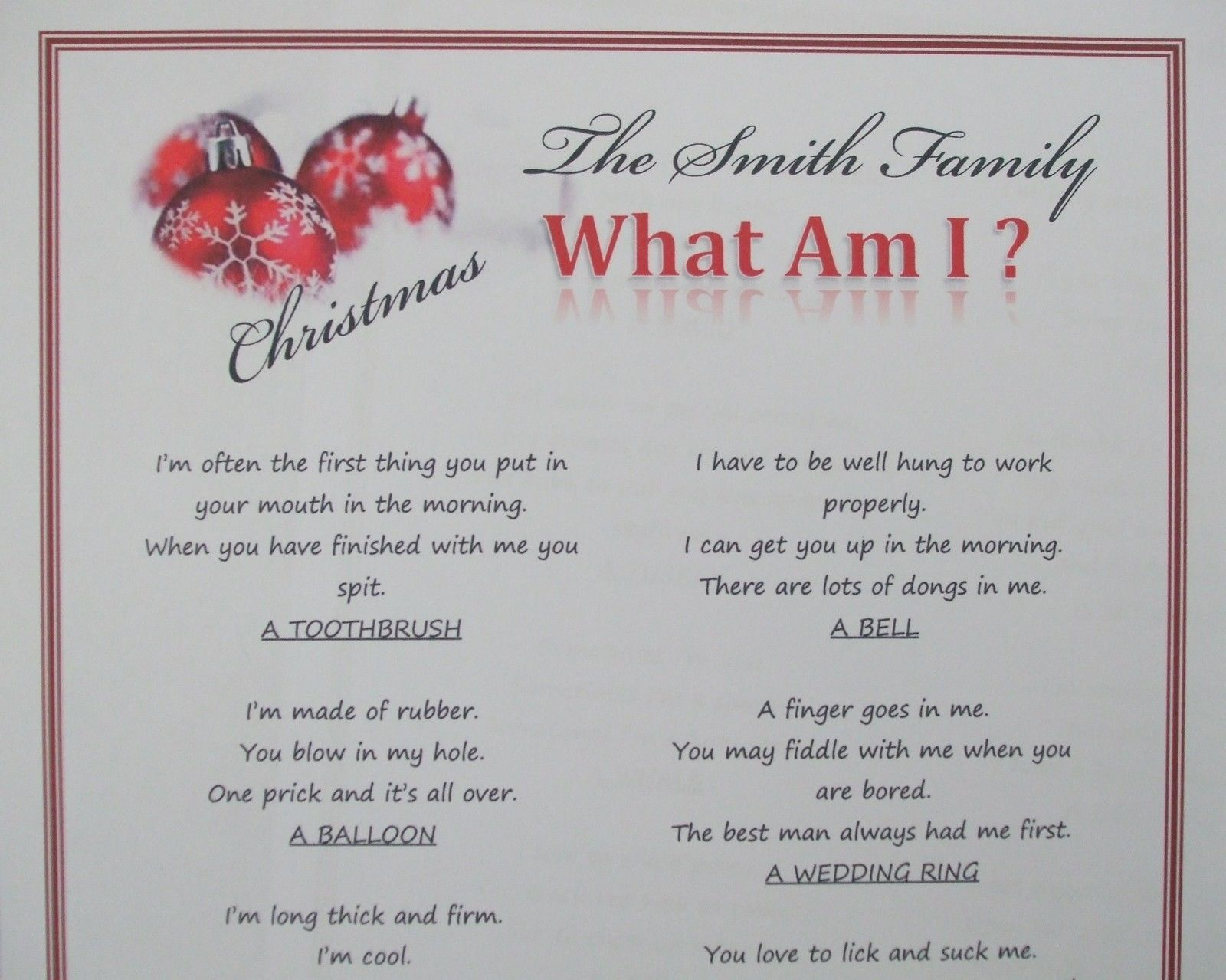 Work Christmas Party Games Ideas Part - 18: Personalised Christmas Party Game,Fun Xmas Activity Quiz Idea. What Am I ?