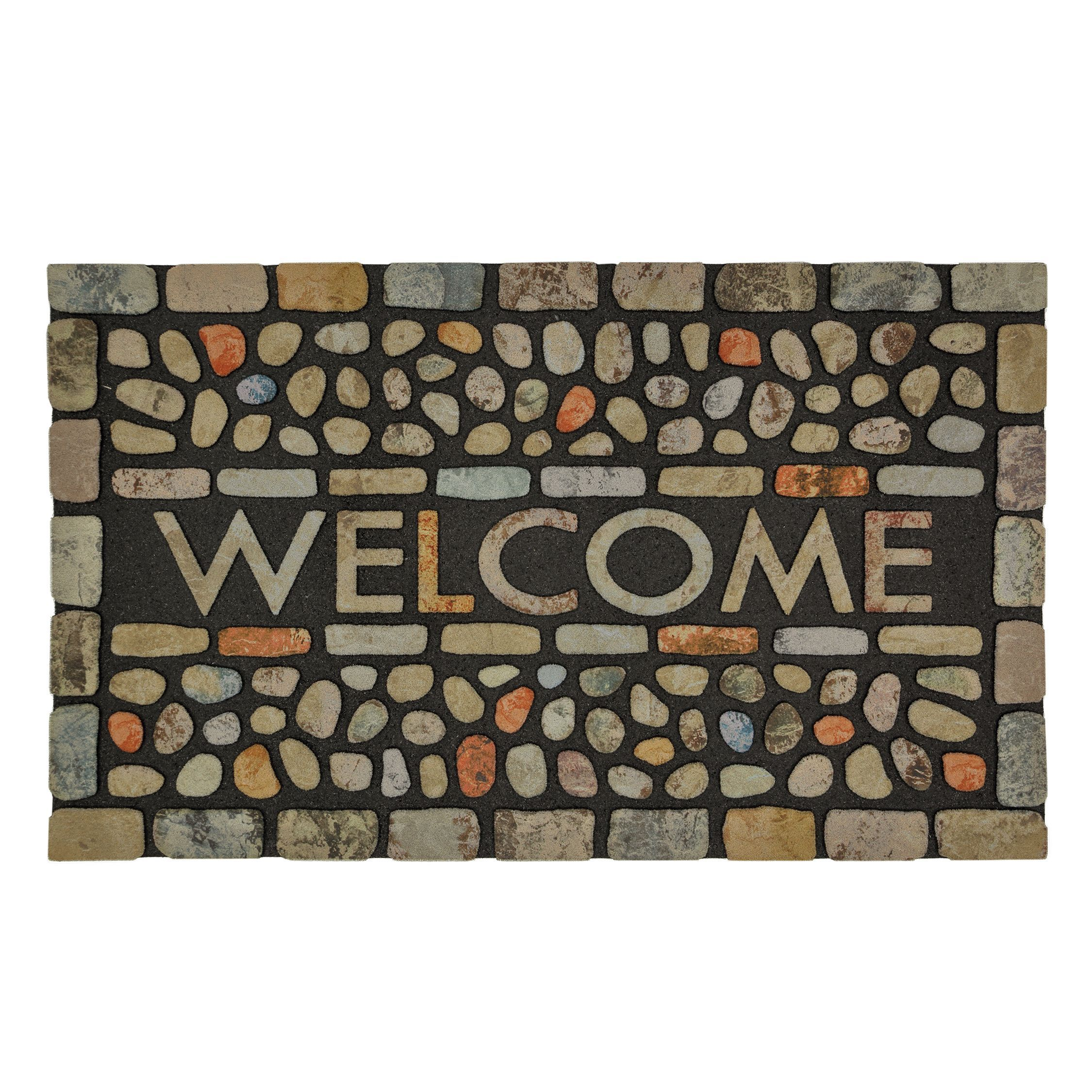 Mohawk Home Doorscapes Pebble Brook Light Mat (1'6 x 2'6) (Pebble Brooke Light), Multi (Polyester, Print), Outdoor Décor