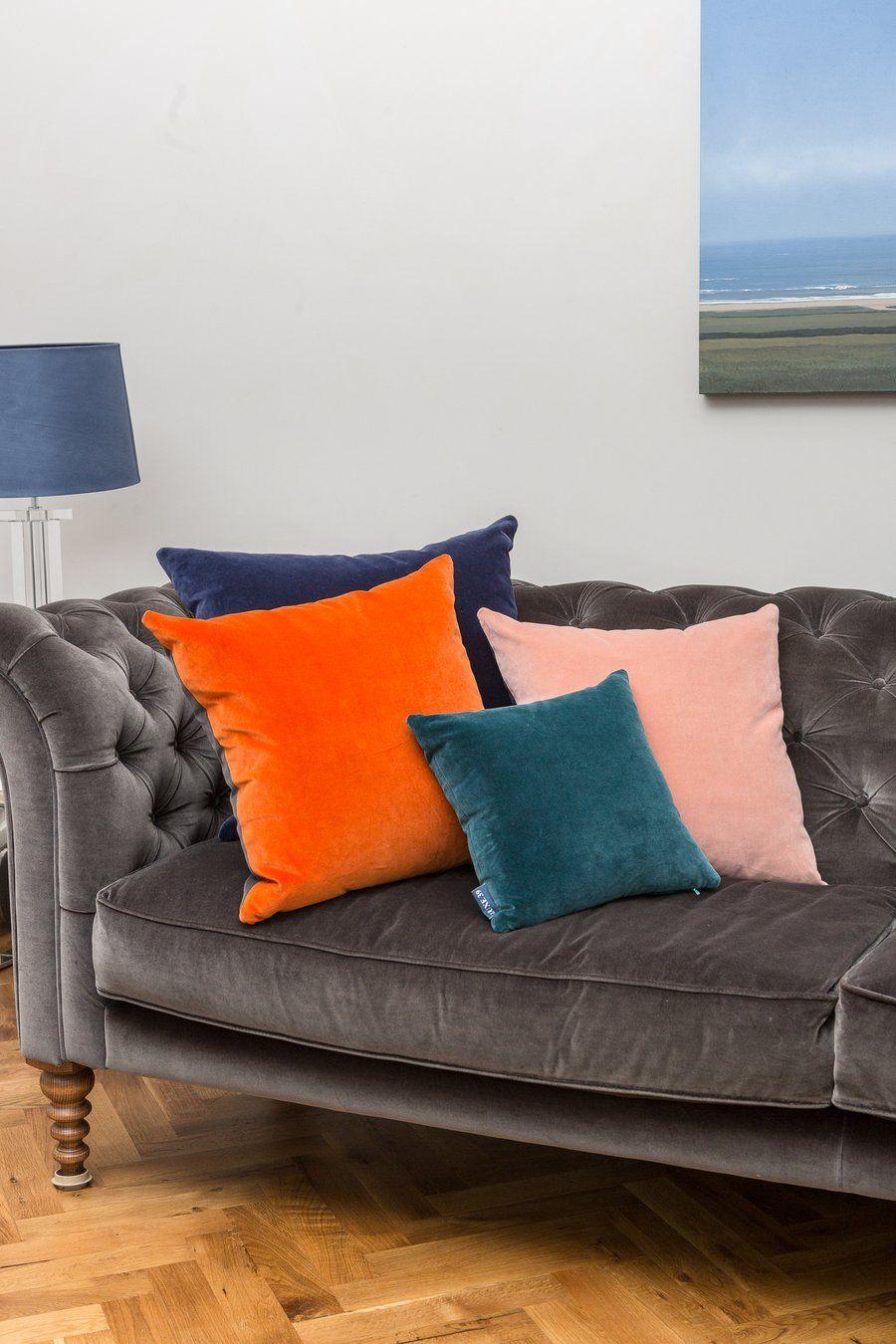 Burnt Orange And Blush Pink Velvet Cushion Luxe 39 Living Room Orange Cushions On Sofa Grey And Orange Living Room
