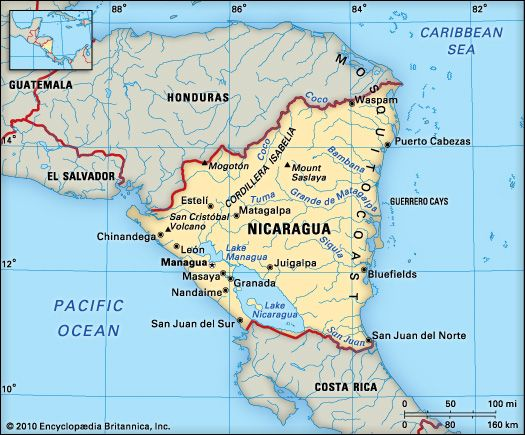 Nicaragua map Nicaragua Pinterest Central america Vacation