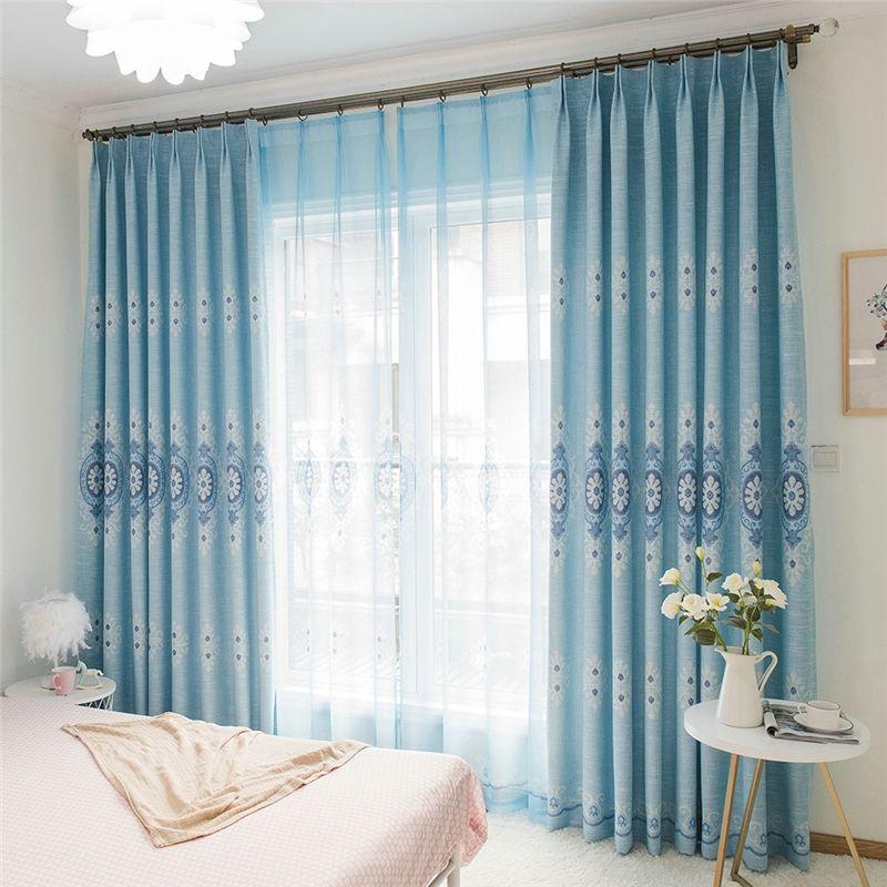 Moderner Vorhang Blau Blumen Jacquard im Wohnzimmer in 2018
