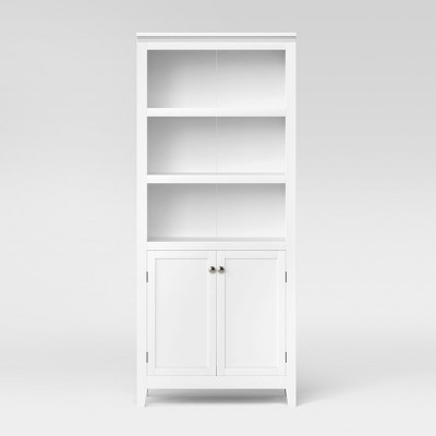 72 Carson 5 Shelf Bookcase With Doors White Threshold In 2021 Shelves White Bookcase Bookcase