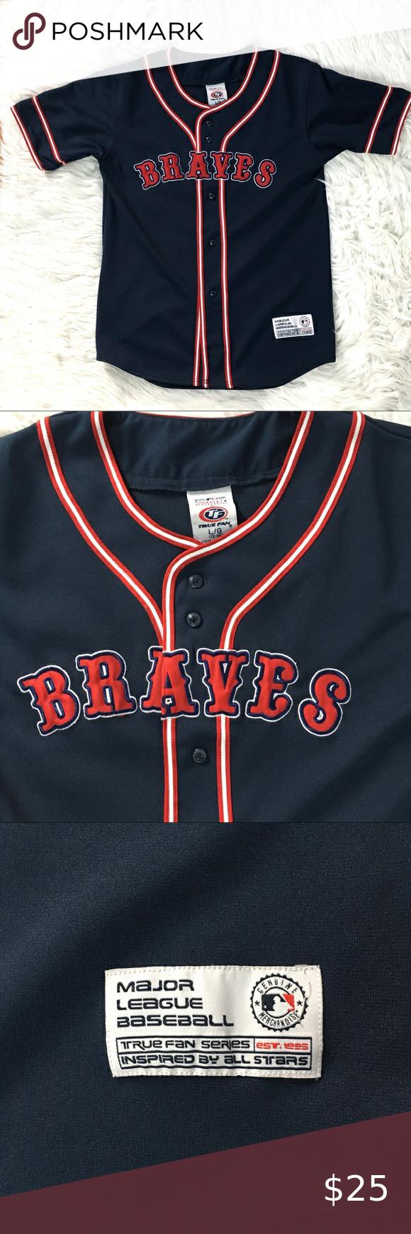 Atlanta Braves Jersey Mlb True Fan Series Youth In 2020 Atlanta Braves Jersey Braves Jersey Atlanta Braves