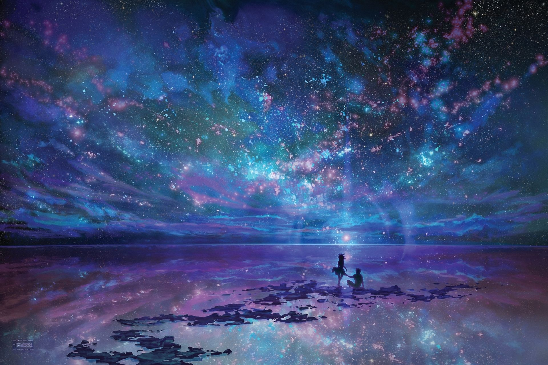 Anime Sky Anime Blue Purple Reflection Couple Ocean Wallpaper