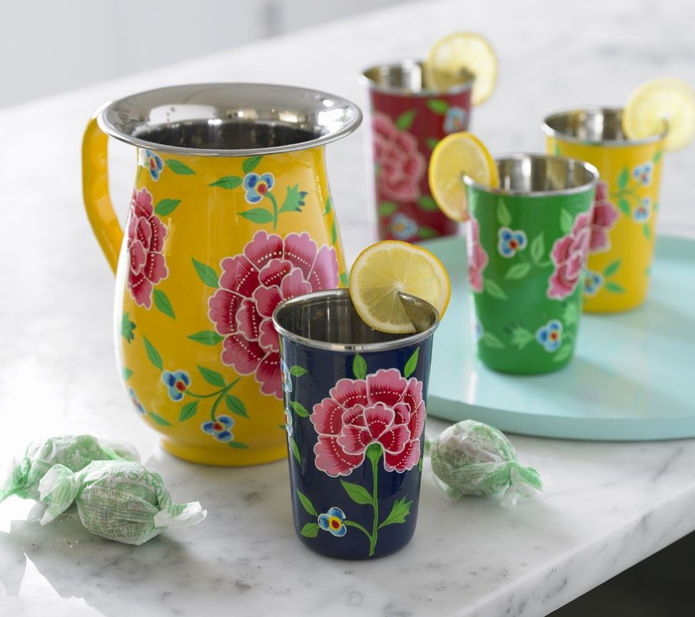 Flower Enamel Picnicware Collection - Carnations. From Viva Terra.
