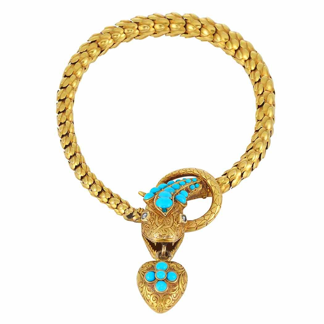 Antique Gold, Turquoise and Diamond Snake Bracelet   Fashioned of gold layered scale-shaped links, terminating in a snake head engraved with a stylized floral design, accented by three tapered bands of round turquoise and rose-cut diamond eyes, its mouth grasping a gold heart pendant engraved with a scroll motif, accented by cabochon turquoise