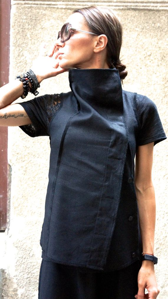 Black Linen Sleevless Top / Beautiful vest / Linen Vest with Buttons / S/S 15 by AAKASHA A02169