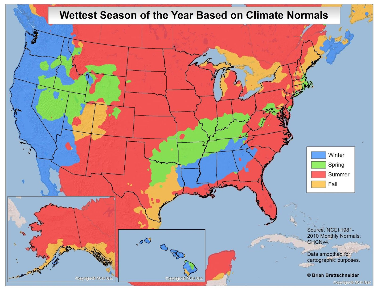 Wettest And Driest Seasons In The United States Map Historical Maps Usa Map