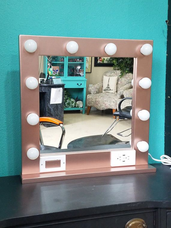Rose Gold 24 X 24 Hollywood Style Lighted Vanity Makeup Mirror