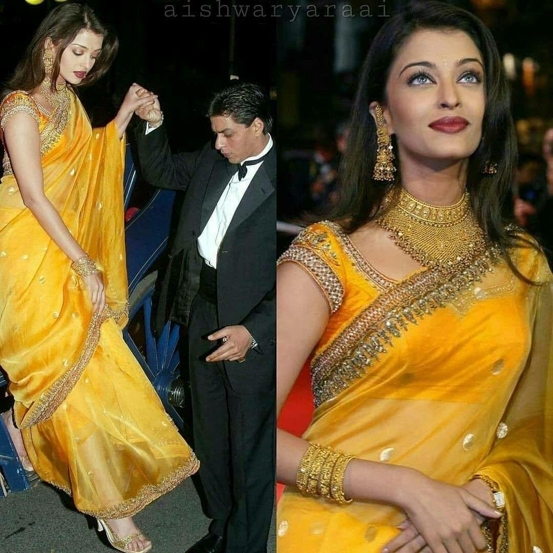 Very Beautiful Aishwarya Rai In Yellow Saree Sari Blouse Designs Saree Blouses Online Saree Blouse Designs