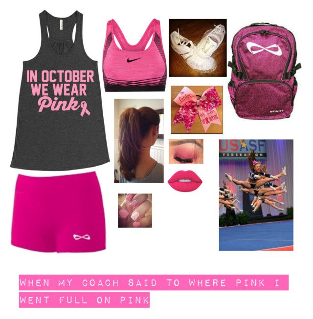 """""""Cancer Awareness"""" by crazygiggles ❤ liked on Polyvore featuring NIKE and Lime Crime"""
