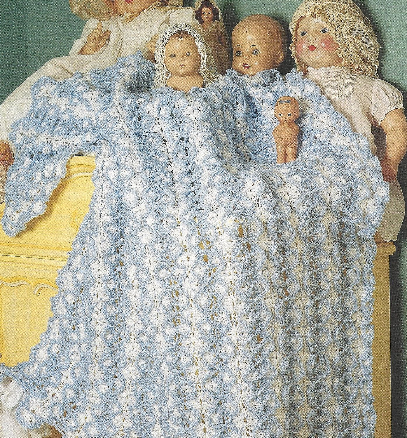 Crochet Baby Afghan Pattern - FRILLY RUFFLED Baby Blanket Original ...