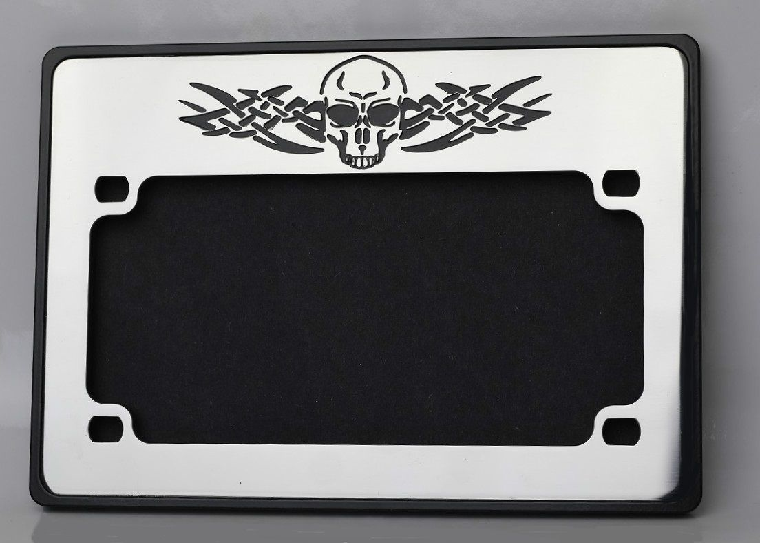 Motorcycle License Plate Frame Skull tribal design. Visit www ...