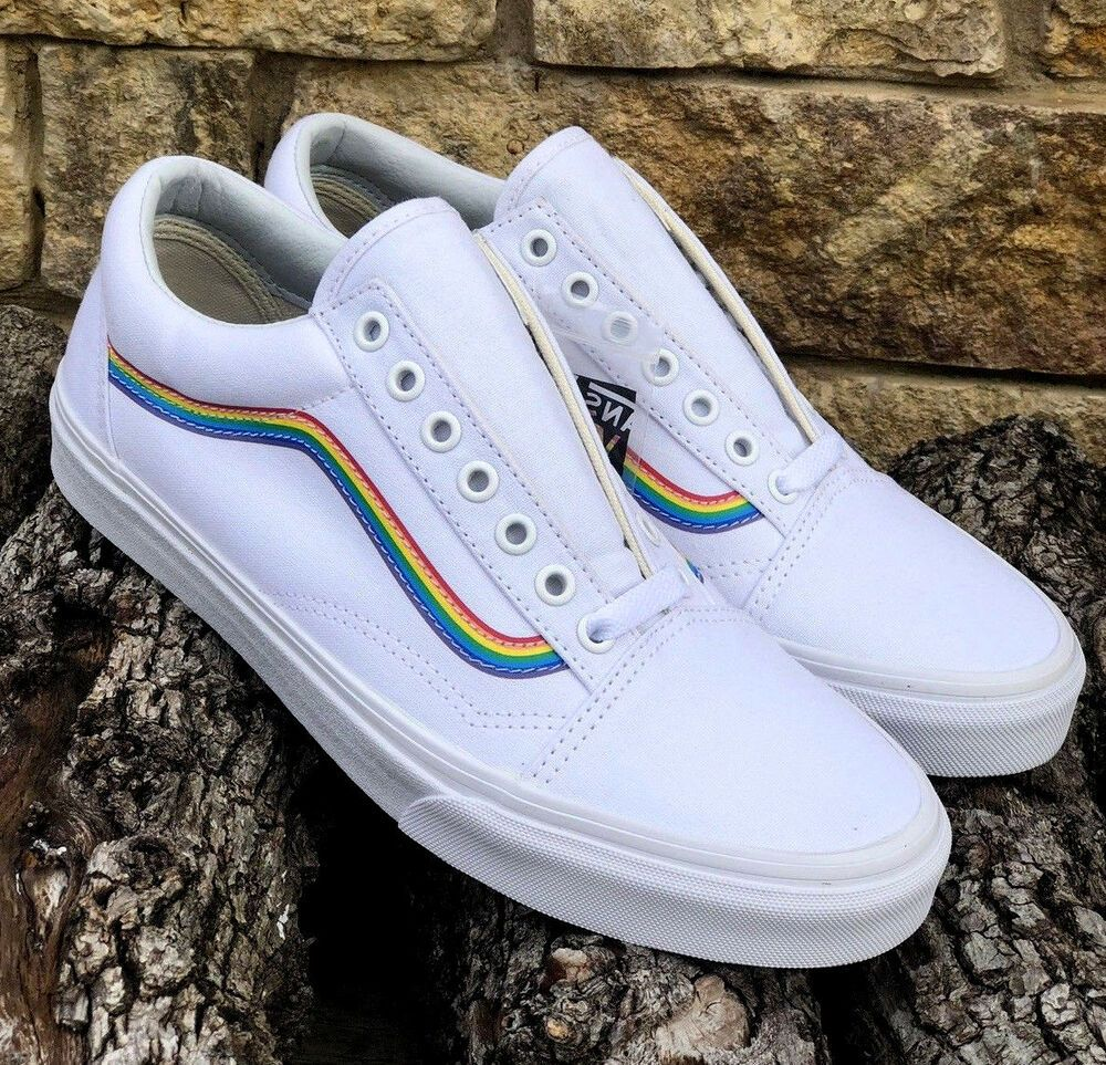 New! Vans Old Skool Pride Rainbow White